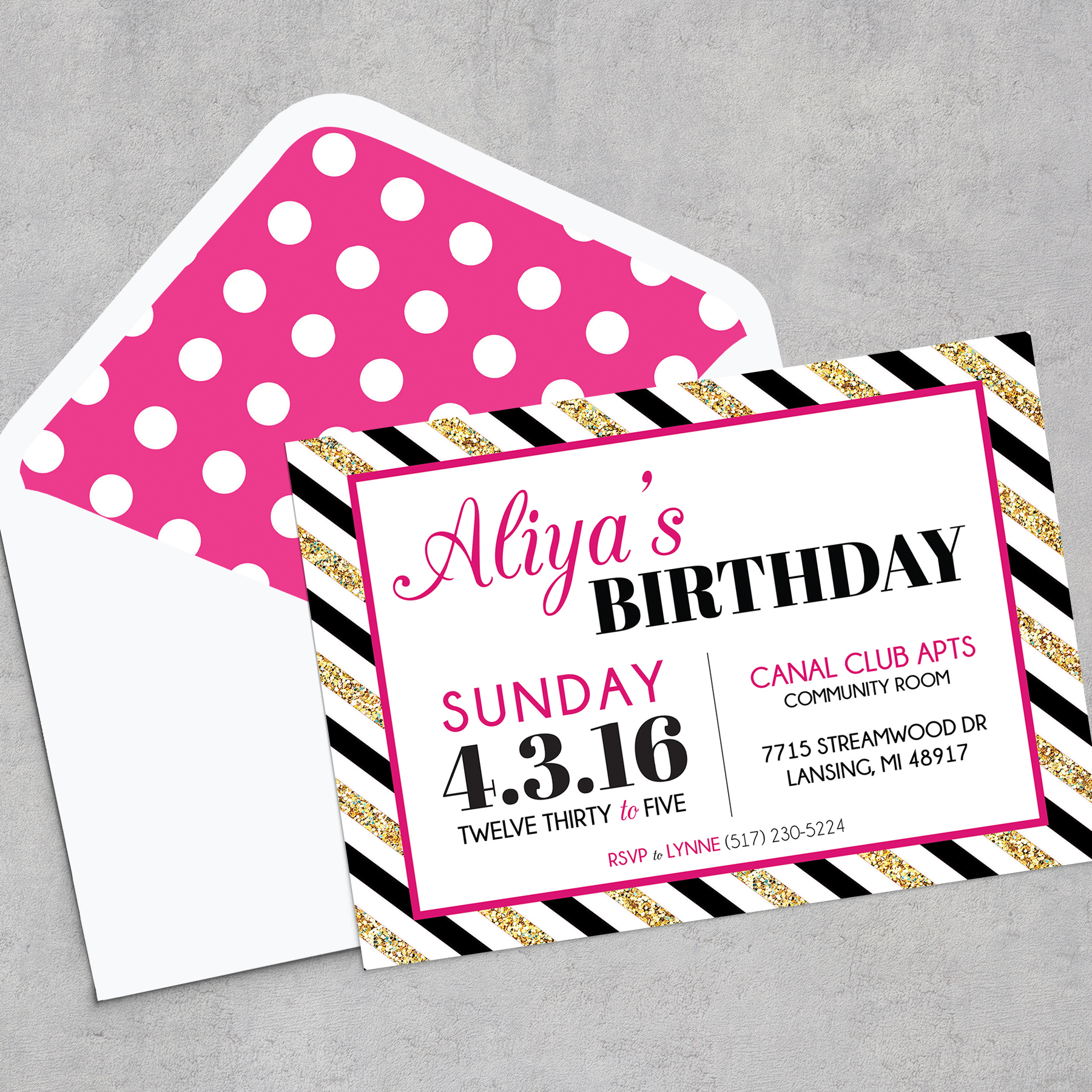 Kate Spade Inspired Birthday Party Invitation Digital