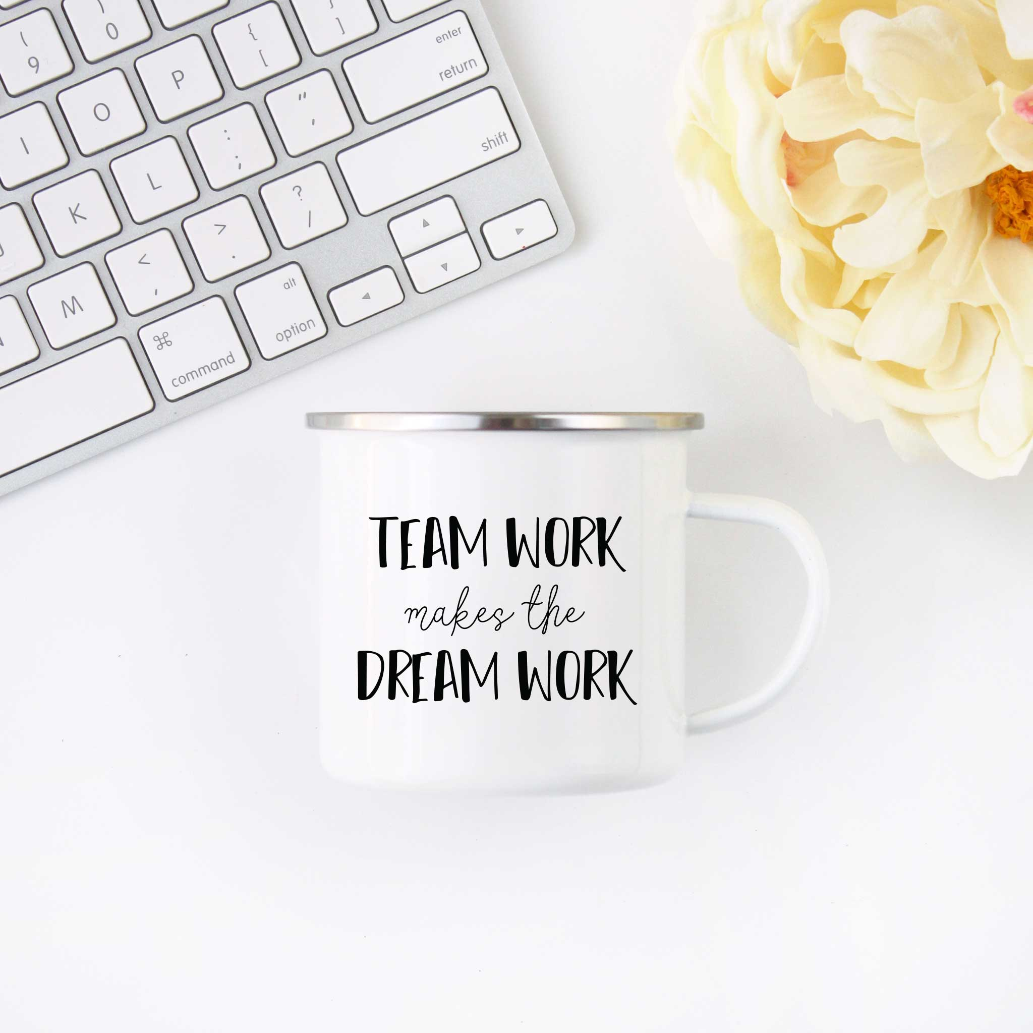 Team Work Dream Work Camp Mug